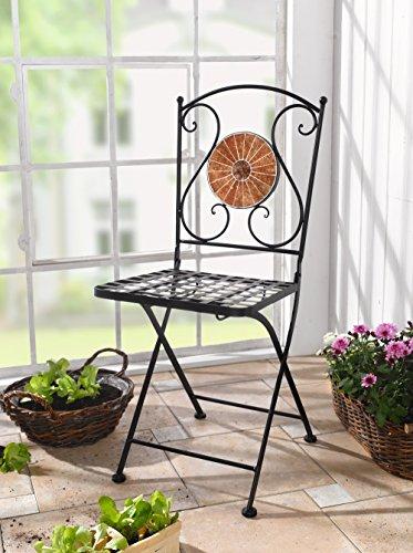 Dekoleidenschaft Klappstuhl Mosaik, Gartenstuhl/Balkonstuhl aus Metall, schwarz