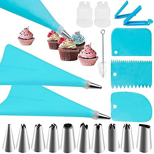 SHULLIN Set di 20 beccucci per decorazione torte con 10 ugelli in acciaio inox e 2 sac à poche in silicone, riutilizzabili per cupcake, biscotti, eclairs (blu)