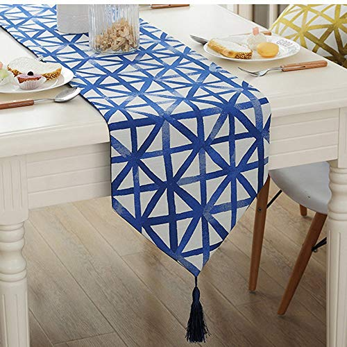YDDZ Classic Blend Jacquard Table Runner, geometrisch patroon, met kwastdecoratie Party | Cadeau | Bed | Eettafel | TV kast (32x160/180/200/220cm) ++
