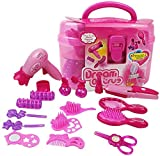 Qukueoy Kids Beauty Salon Set Toys 17pcs-Little Girl Makeup Kit Pretend Play Hair Station with Case, Imitated...