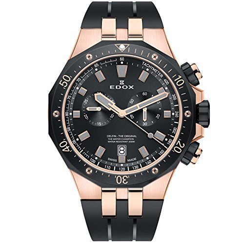 Edox Reloj Cronógrafo para Hombre de Cuarzo con Correa en Caucho 10109-357RNCA-NIRG