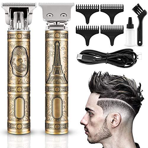 Lovebay - Cortapelos para hombre, USB, cortacésped de pelo profesional, eléctrica, afeitadora de barba recargable inalámbrica, para uso doméstico y peluquería con 4 peines de guía