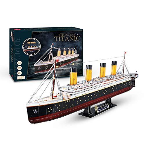 Modelo de madera, modelos de embarcaciones Kits de construcción Modelo de barco Kit de barco Kits de modelo de montaje Modelo de barco de vela de madera clásico Titanic Juguete de bricolaje con LED