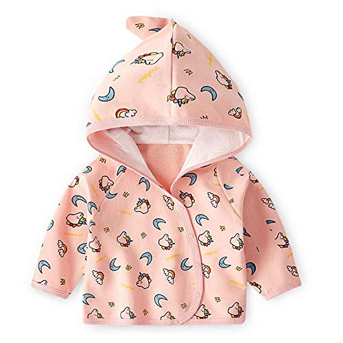 Cárdigan con capucha para bebé de manga larga para niños y niñas, suéter de punto con diseño de unicornio rosa 3-4T/110