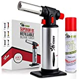 Kitchen Torch, blow torch - Refillable Butane Torch With Safety Lock & Adjustable Flame + Fuel gauge - Culinary Torch, Creme Brûlée Torch for Cooking Food, Baking, BBQ + FREE E-book, 1 Can Included