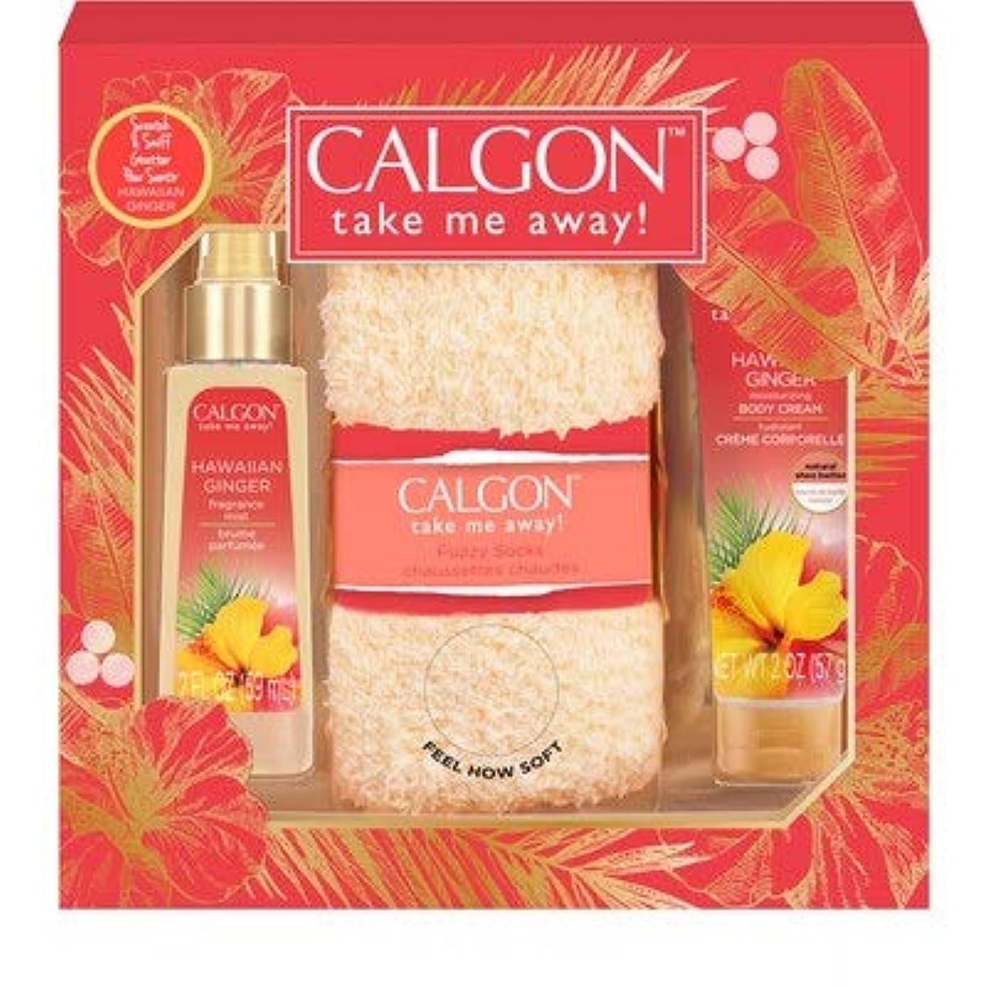 リクルート単なる桃海外直送品 CALGON Hawaiian Ginger Fuzzy Socks 3pc Set カルゴン ハワイアンジンジャー2点セット (ギフト)
