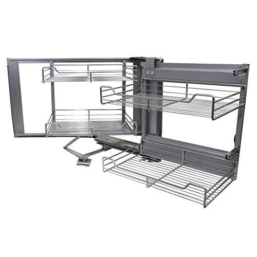 Kukoo - 4 Cestos de Acero Inoxidable para Mueble de Rincón Ciego 90-100cm, Mano Derecha