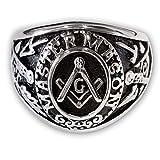 Fly Style Freimaurer Templer Ring 316L Edelstahl Illuminati Siegelring Herren - Modell Master Mason, Ring Grösse:19.1 mm