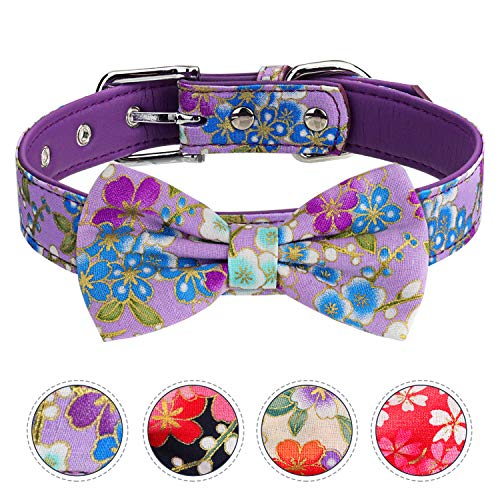 Vaburs Dog Collar and Pet Bowtie Collar, Fancy Dog Collar with Bowtie for Small Medium and Large Dogs Adjustable(M-Purple)