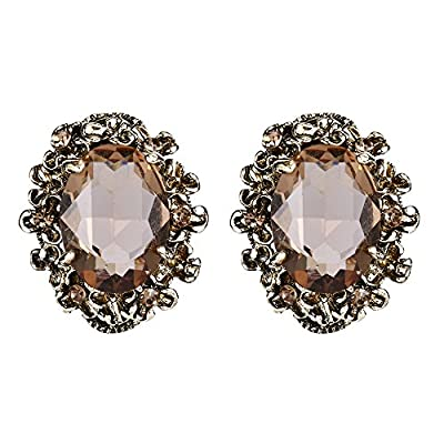 BriLove Victorian Style Stud Earrings for Women Crystal Floral Scroll Cameo Inspired Oval Earrings Champagne Antique-Gold-Toned