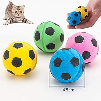 WiseLight 12 Pièces Éponge Ballons De Football Jouet pour Chat Doux Mousse Balles pour Pet sans Bruit Bouncy Interactive Ball Jouets Chaton Activité Chase Jouet À Mâcher pour Kitty Chiot