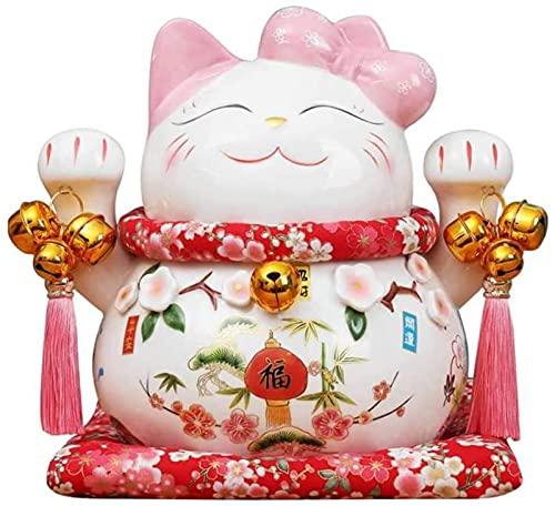 KWWLAC Esculturas Decoración del Hogar Muñeca Estatua Escultura Gato de La Suerte Cerámica Gato de La Suerte Rosa Gato de La Suerte Estatua Decoración del Hogar Figuritas,B