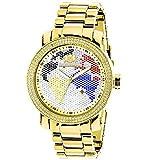 LUXURMAN World Map Mens Diamond Watch 0.12ct Yellow Gold Plated