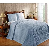 DH 3 Piece 120 x 110 Pale Blue Oversized Chenille Bedspread King to The...