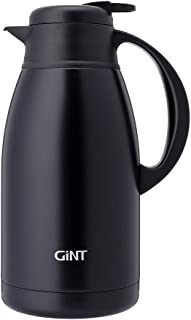 GiNT Stainless Steel Thermal Coffee Carafe, Double Walled Vacuum Water and Beverage Dispenser, 12 Hour Heat Retention, 65 OZ /1.9 Liter Black