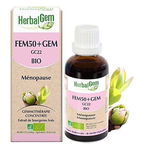 HerbalGem - Fem50+Gem Bio - Atténue les désagréments de la ménopause - Complexes de Gemmothérapie Concentrée - 30 ml