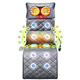 DGSD Massage Mats for Full Body - Massage Mattress with Heat, Kneading Back Massager & Jade Heating Pad, 10 Vibrating Motors Massage Mat for Bed,Massage Pad for Neck Back Pain Relief