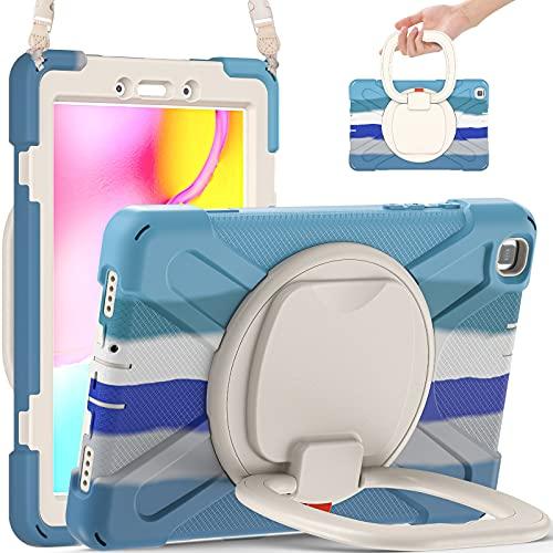 Tablet PC Bag Coperchio da tablet per Samsung Galaxy Tab A 8 (2019) T290   T295, custodia protettiva resistente antiurto robusta con supporto per manico pieghevole, cavalletti rotanti, tracolla da tra