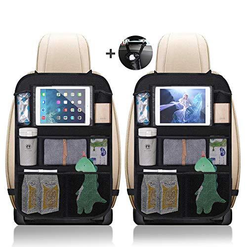 Auto Rückenlehnenschutz 2 Stück Warxin Große Taschen Auto Rücksitz Organizer für Kinder, 600D Oxford Stoff Wasserdicht Rücksitzschoner mit 10 Zoll iPad/Tablet Tasche Kick-Matten-Schutz für Autositz