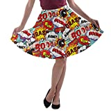 CowCow Womens Fun Pop Art Words Party A-Line Stretchy Skater Skirt - 3XL