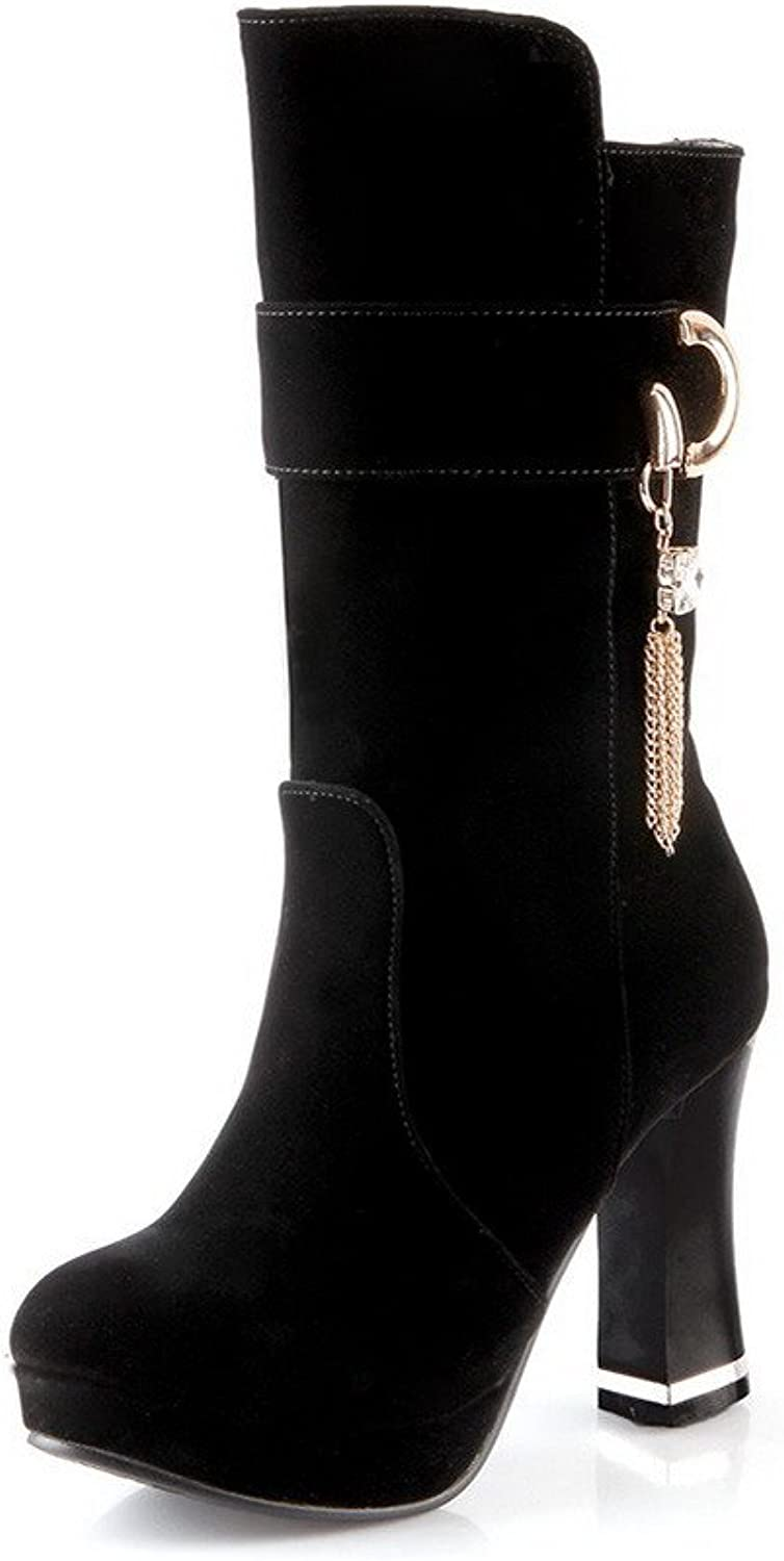AllhqFashion Women's Solid High-Heels Closed Round Toe Imitated Suede Pull on Boots