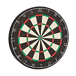 Relaxdays Dartboard Bristle Board Profi X6, 45 cm, natural fibers sisal, professional dartboard, max. Average, black