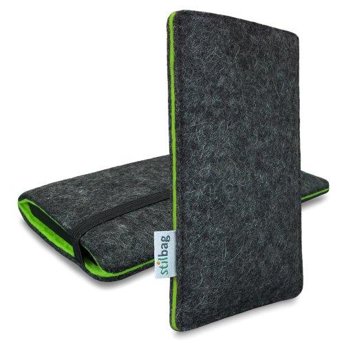 stilbag Custodia di Feltro 'Finn' per Sony Xperia Z1 Compact - Colore: Antracite/Verde
