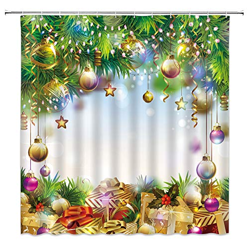 QWRSMYX Duschvorhang mit weihnachtlichen Kugeln, grünes Blatt, Western-Urlaub, Kinder, Winter, Urlaub, Dekoration, Stoff, Badezimmer-Set mit Haken, 177 x 177 cm, Gelbgrün