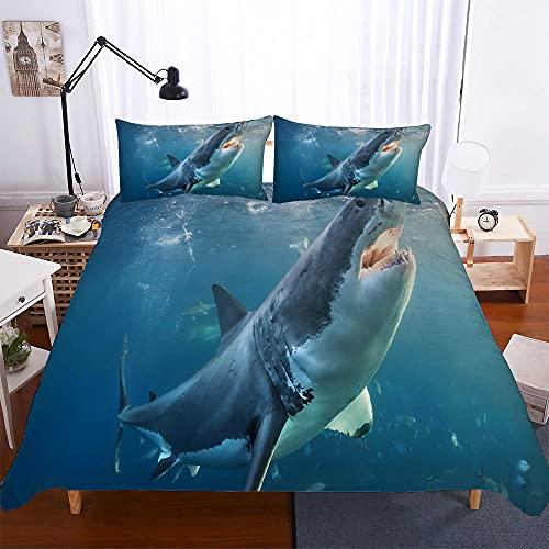 Bettwäsche 220x240 Ozeanhai Bettwaren Mikrofaser Weiche mit Reißverschluss (1 Bettbezug, 2 Kissenbezug 80x80)