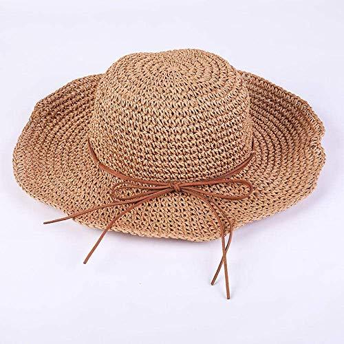 GWFVA Aqeror handgemachte häkeln Stroh Sonnenhüte Sommer Strand Krempe Damen Faltbare Mütze Stroh Sonnenhut Sonnenblende Hut Bow-Knot Chapeau