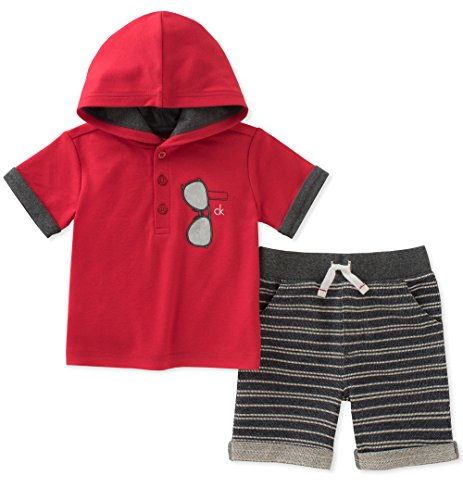 Calvin Klein Baby Boys 2 Pieces Hooded Shorts Set, red, 6-9 Months