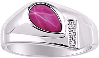 RYLOS Timeless Pear Shape Cabochone Color Stone Gemstone & Natural Diamond Ring Set in Sterling Silver .925