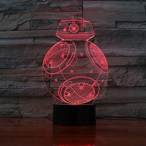 BB8 Roboter 3D Tischlampe Kinder Spielzeug Geschenk LED Licht Schreibtisch Tisch Halloween Dekoration Geschenk Kind Abschluss Urlaub USB Lava Lampe
