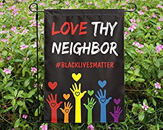 """VINMEA Home Garden Black Lives Matter Love Thy Neighbor Support Decorative Flag Double Sided Polyester Welcome Flag 28"""" X ..."""