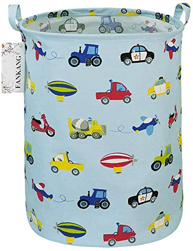FANKANG Wäschekorb Kinderzimmerkorb Canvas Faltbar mit wasserdichter PE-Beschichtung Große Aufbewahrungskörbe für Kinder Jungen Mädchen Spielzeug Zimmer(Auto)
