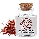 Pure Indian Foods Organic Spanish Saffron Spice, 1g (0.3 oz) - La Mancha D.O.P. Certified, Premium Quality Finest Threads for Paella Rice, Bomba Rice, Saffron Tea, Golden Milk