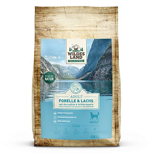 Wildes Land | Trockenfutter für Hunde | Nr. 6 Forelle & Lachs | 4 kg | mit Kartoffeln und Wildkräutern | Glutenfrei & Hypoallergen | Extra viel Fleisch | Beste Akzeptanz und Verträglichkeit