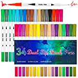 Best Adult Markers - 34 Colors Calligraphy Brush Marker Pens Dual Tip Review