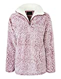 makeitmint Women's Super Soft Fluffy Sherpa Zip Up Pullover Sweater Top YISW0071-WINE-LRG