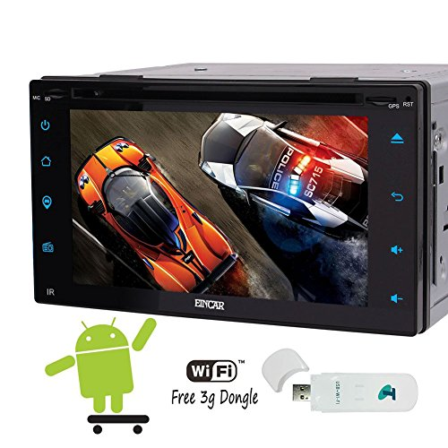 Best Model Android 6.0 Quad-core 6.2 inch Full Touch-Screen Universal Car Video DVD Player GPS 2 Din Car Stereo Navigation Head Unit Support OBD2 WiFi 3G Cam-in + Free 3G Dongle