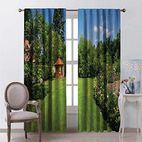 Garden Energy-saving and noise-reducing Peaceful Countryside Landscape with Blooming Roses Brick Path and a Small Gazebo rod-shaped pocket curtains for the living room W52 x L84 Inch Multicolor