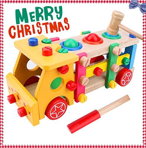 Flycreat 車のおもちゃDIY 車セット 組み立て式 トラック 知育玩具 カラフル ままごと木製 色彩認知 実践力 認知力 指先鍛え 早期開発 男の子のおもちゃ カー 走行可能 クリスマスプレゼント 子供 誕生日祝い 55ピース