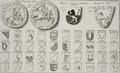 H. W. Fichter Kunsthandel: Wappen u. Insignien dt. Adelsgeschlechter u. Ortschaften, 1750, Kupfer