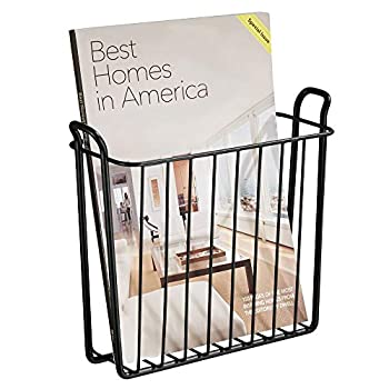 mDesign Decorative Modern Metal Wall Mount Magazine Holder Organizer - Space Saving Compact Rack for Magazines Books Newspapers Tablets Laptops in Bathroom Family Room Office - Matte Black