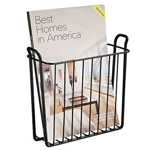 mDesign Decorative Modern Metal Wall Mount Magazine Holder, Organizer - Space Saving Compact Rack for Magazines, Books, Newspapers, Tablets, Laptops in Bathroom, Family Room, Office - Matte Black