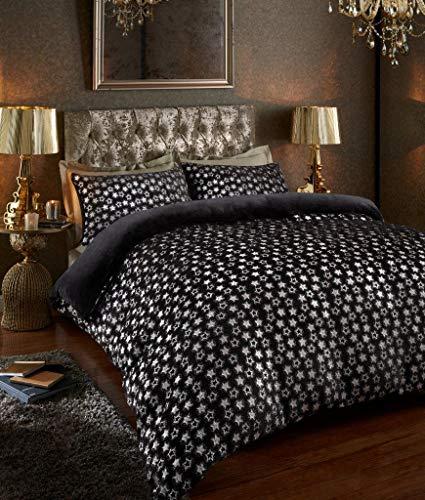 GC Star - Juego de 2 fundas de almohada a juego con forro polar, negro/plata, King Duvet Set
