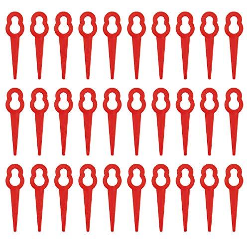 Hemobllo 100 STÜCKE Kunststoffmesser/Ersatzmesser/Schneidplättchen/Ersatz Klingen für Akku Rasentrimmer (Rot)