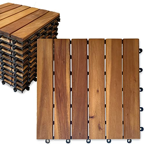 Mammoth Sustainably Sourced Solid Acacia Wood Oiled Finish EZ Lock Interlocking Deck Tiles, Water Resistant Outdoor Patio Pavers or Composite Deck Flooring, Pack of 10 (10 SQFT) (Stripe)