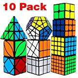 Speed Cube Set, Libay Cube Bundle 2x2 3x3 4x4 5x5 Pyramid Megaminx Skew Mirror Ivy Windmill Sticker Magic Cube Collection Puzzles Cube Toys Gift for Kids and Adults Set of 10