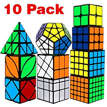 Speed Cube Set Libay Cube Bundle 2x2 3x3 4x4 5x5 Pyramid Megaminx Skew Mirror Ivy Windmill Sticker Magic Cube Collection Puzzles Cube Toys Gift for Kids and Adults Set of 10